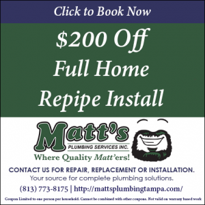 $200 off full home repipe services - Matts plumbing
